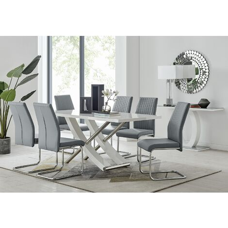 Mayfair Large White High Gloss And Stainless Steel Dining Table And 6 Lorenzo Dining Chairs