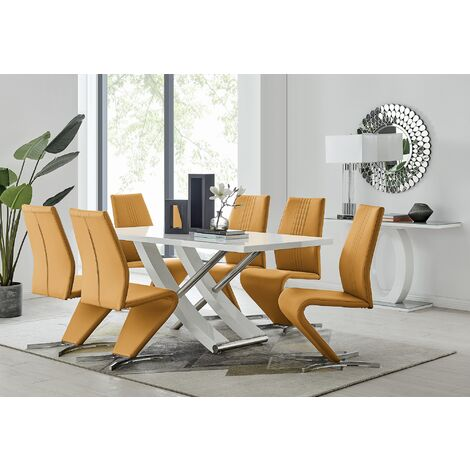 Mayfair Large White High Gloss And Stainless Steel Dining Table And 6 Willow Dining Chairs