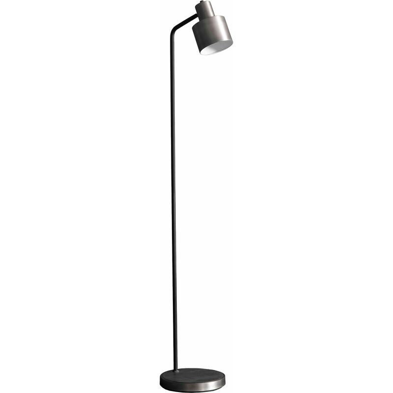 Image of 04-endon - Mayfield Floor Lamp in Steel, Brushed Silver and Matte Black Plate Finish