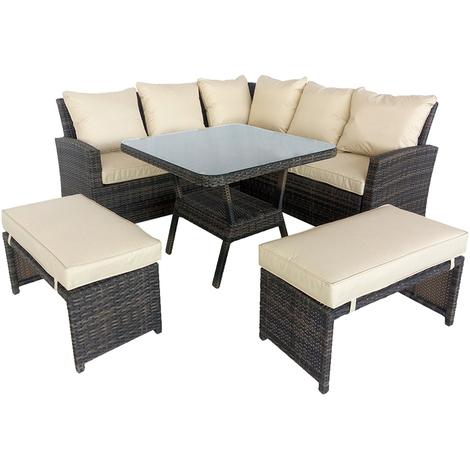 Maze Rattan Garden Furniture Compact Kingston Outdoor Corner Sofa Dining Set Brown