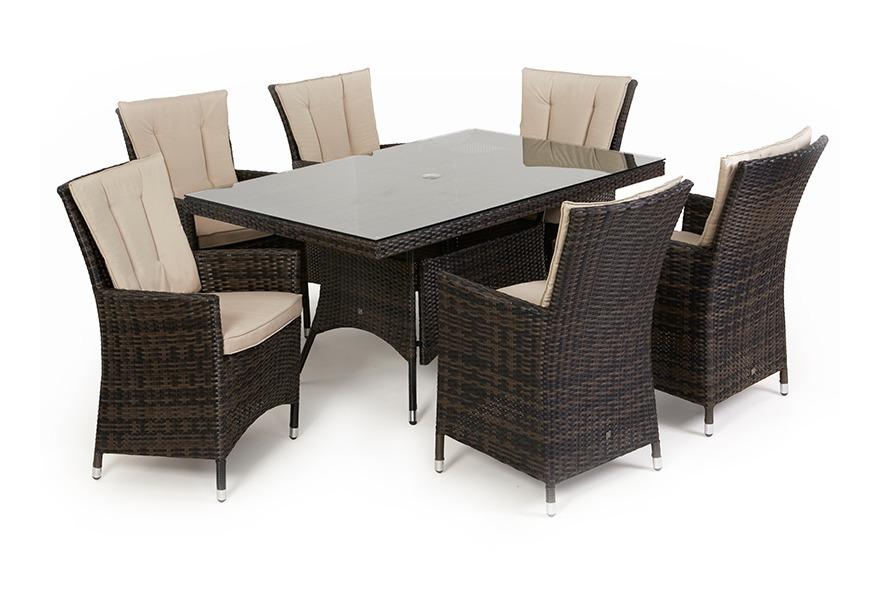 fecc36ee71c3 Maze Rattan Garden Furniture LA 6 Seat Outdoor Dining Set - 1.5m x 1m  Rectangular Table - Brown