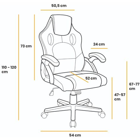 Mc Haus - Chaise de bureau ergonomique chaise gaming design sportif tissu 3D