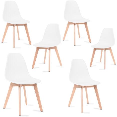 Mc Haus KATLA - Lot de 6 chaises salle à manger blanc scandinaves avec pieds en bois tulipes salon cuisine design nordique 47x46x82cm