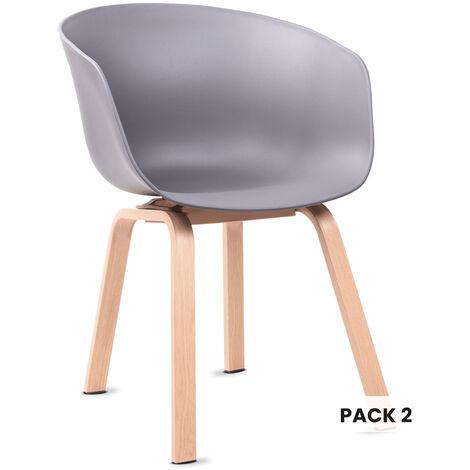 Mc Haus - Pack 2 sillas ERIKA diseño nordico salon comedor 56,5x56x76,5cm