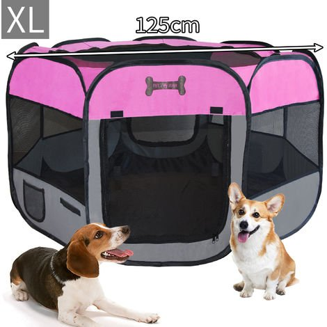 MC Star Oxford Welpenauslauf Faltbar Welpenlaufstall Tierlaufstall für Hunde Hasen Meerschweinchen Katzen für innern oder außen, 8 Elemente - 125x125x64cm - Pink