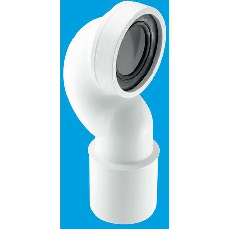 "McAlpine 4""/110mm 90° Space Saving Bend Adjustable Length Rigid WC Connector - 110mm Plain End Outlet"