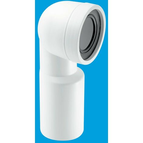 McAlpine 90° Bend Adjustable Length Rigid WC Connector - 110mm Plain End Outlet