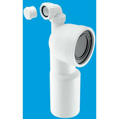 """McAlpine 90° Bend Adjustable Length Rigid WC Connector with 1.1/4"""" Universal Vent Boss - 110mm Plain End Outlet"""