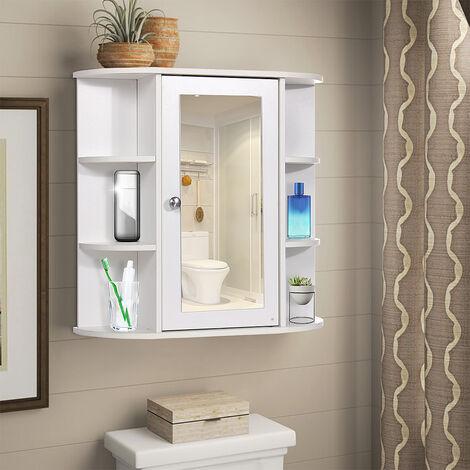 Mdf Bathroom Cabinet With Mirror Wall Door Storage Cabinet with Shelf LAVENTE - Blanc