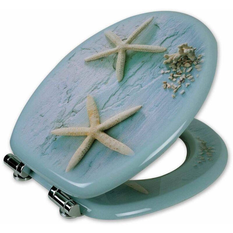 Mercatoxl - MercartoXL MDF siège de toilette avec étoile de mer à proximité douce
