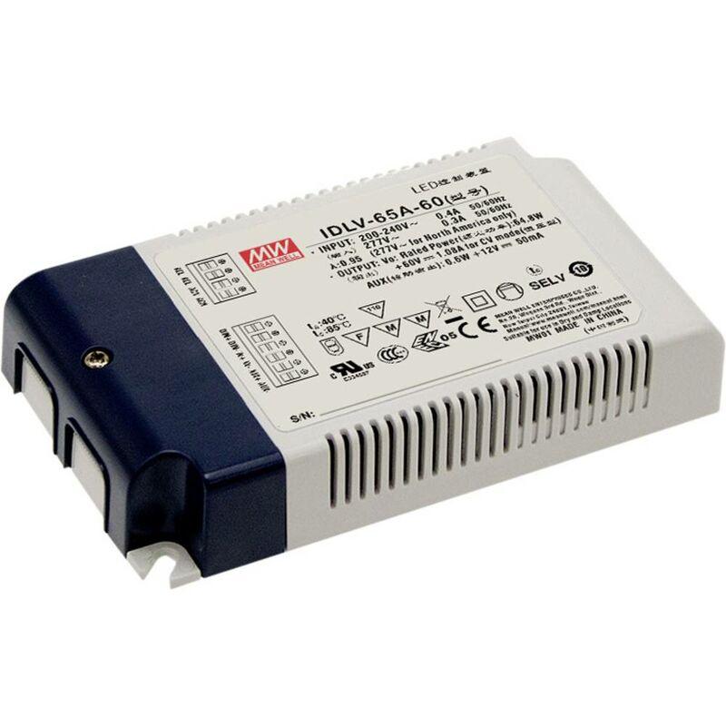 Mean Well IDLV-65A-12 Driver per LED, Trasformatore per LED Tensione costante 50.4 W 0 - 4.2 A 12 V/DC dimmerabile, Cir