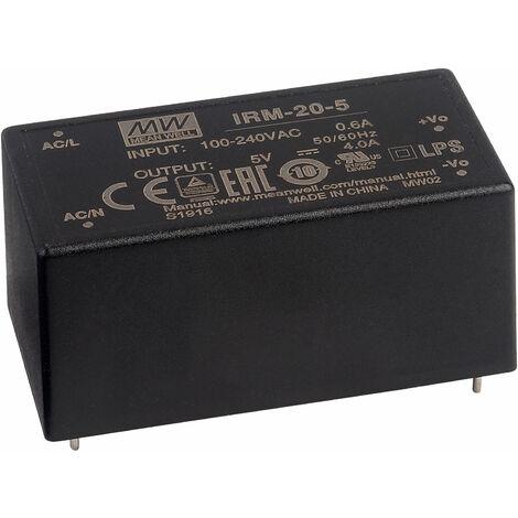 "main image of ""Mean Well IRM-20-5 5V / 20W AC/DC Mini Encapsulated PSU"""