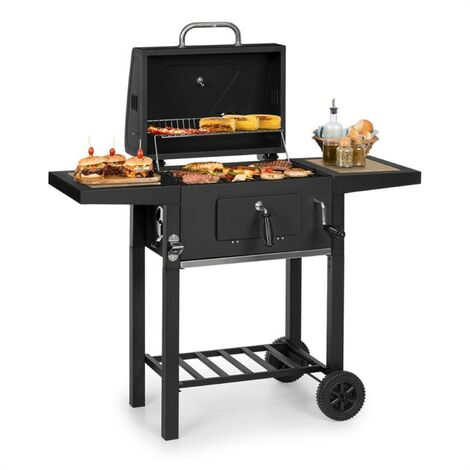 Meat Machine Charcoal Grill 45x32.5cm Thermometer Floor Rollers Black