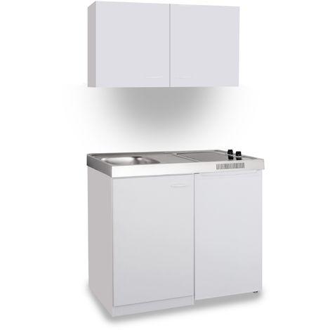 Mebasa Miniküche 100 Cm Weiß Mit Ceranfeld Mk0008osweissc