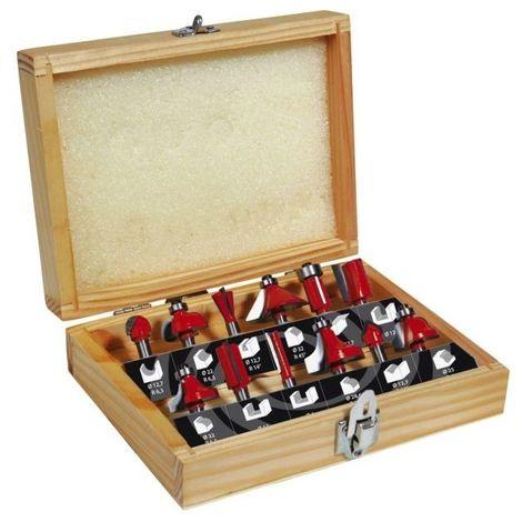 Mecabois - Coffret bois assortiment de 12 fraises queue de 8 mm