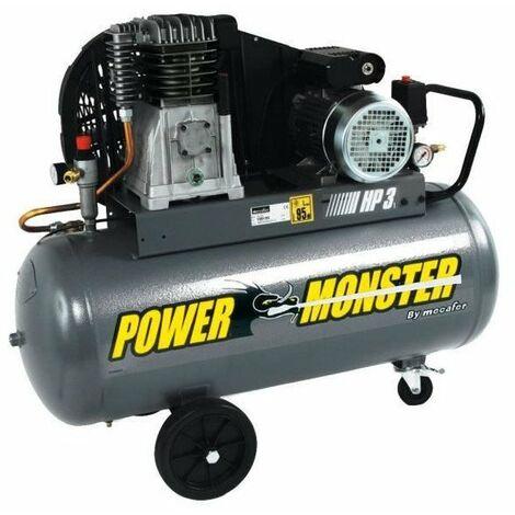 MECAFER Compresseur 100 L 3HP Bicylindre courroie 10 bars Semi Pro PowerMonster