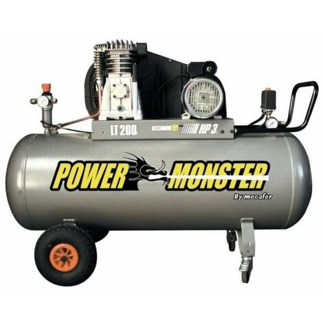 MECAFER Compresseur 200 L 3HP Bicylindre courroie 10 bars Semi Pro PowerMonster
