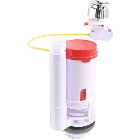 Mécanisme à câble pour WC double chasse 3/6 litres - Bouton poussoir chromé