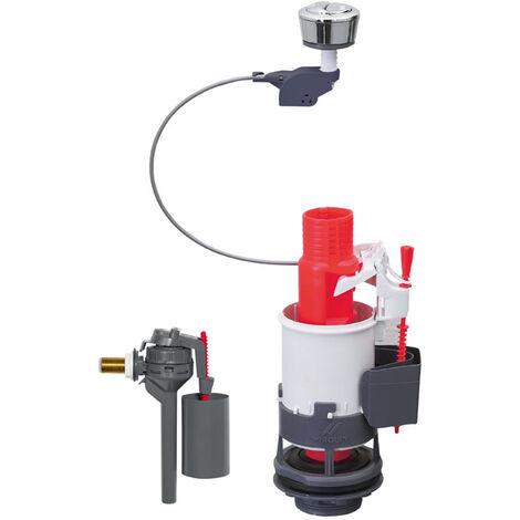 Mécanisme de WC double chasse à commande à câble + robinet flotteur servo-valve compact - mécanisme 3/6l + robinet Topy 3/8 laiton - Wirquin - 14014002