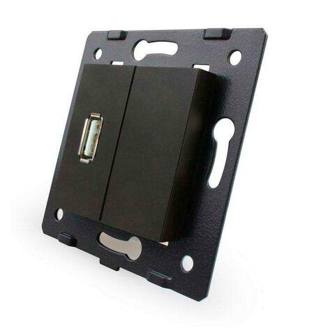 Mecanismo de empotrar enchufe USB, negro
