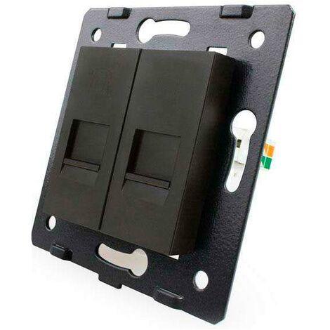 Mecanismo de empotrar Teléfono RJ11 + Red RJ45, negro
