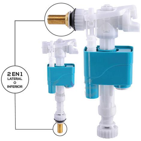 Mecanismo flotador universal para cisterna de WC. Grifo de llenado de cisterna con 2 posibles vías de salida: superior o inferior Kibath