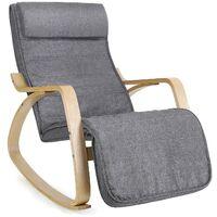 Mecedora Sillón de Relax Reposapiernas Ajustable Capacidad de Carga de 150 kg Gris LYY11G