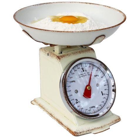 Mechanische Küchenwaage Analog Retro Mechanisch + Schüssel bis 3kg Vintage Tara