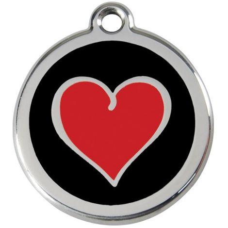 """Médaille Red Dingo noire """"coeur rouge"""""""