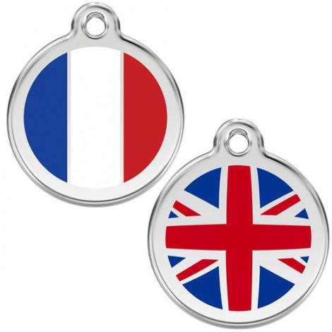 Médaille Reddingo à personnaliser chien, chat et maître 20 mm drapeau anglais