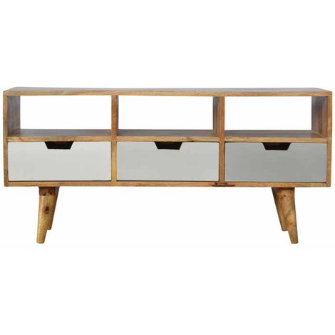 """main image of """"Media Unit with 3 Hand Painted Cut Out Drawers"""""""