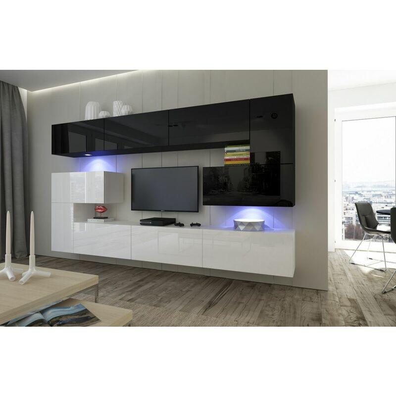 Fun-möbel - Mediawand Wohnwand 10 tlg - NEXI 17 -Weiss- Schwarz Hochglanz inkl.LED