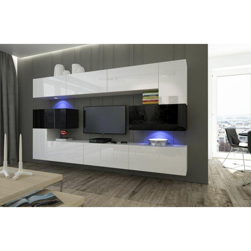 Mediawand Wohnwand 10 tlg NEXI XL 27 Weiss-Schwarz Hochglanz inkl.LED - FUN MOEBEL