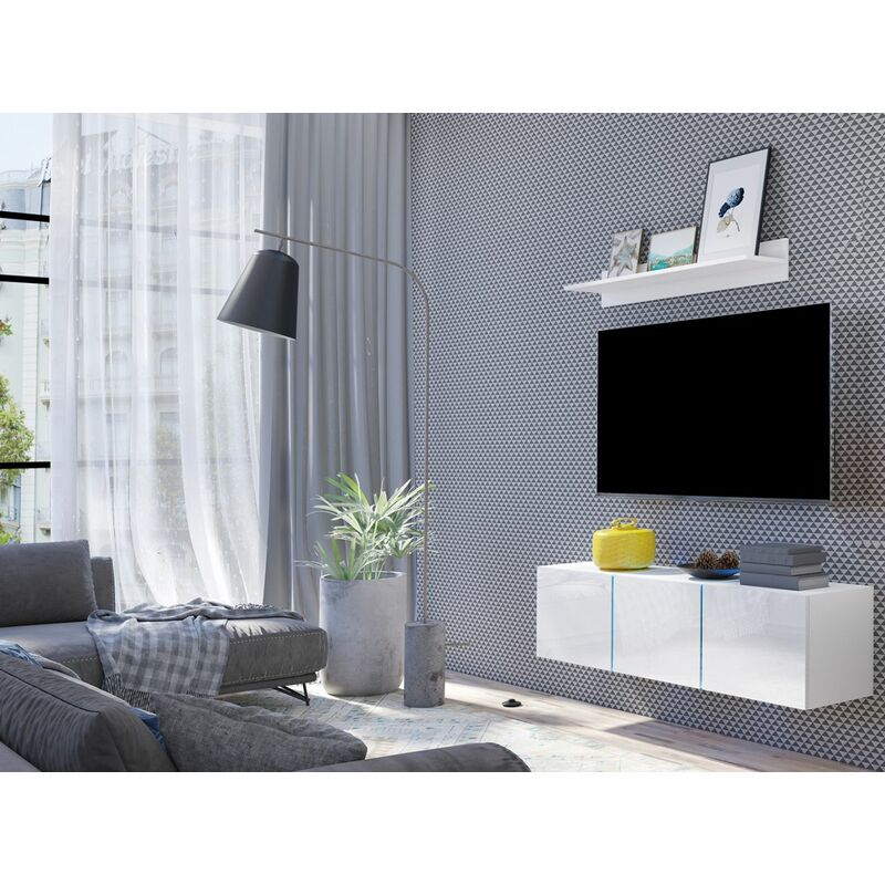 Fun Moebel - Mediawand Wohnwand 2 tlg - DROPIS 7 - Weiss Hochglanz