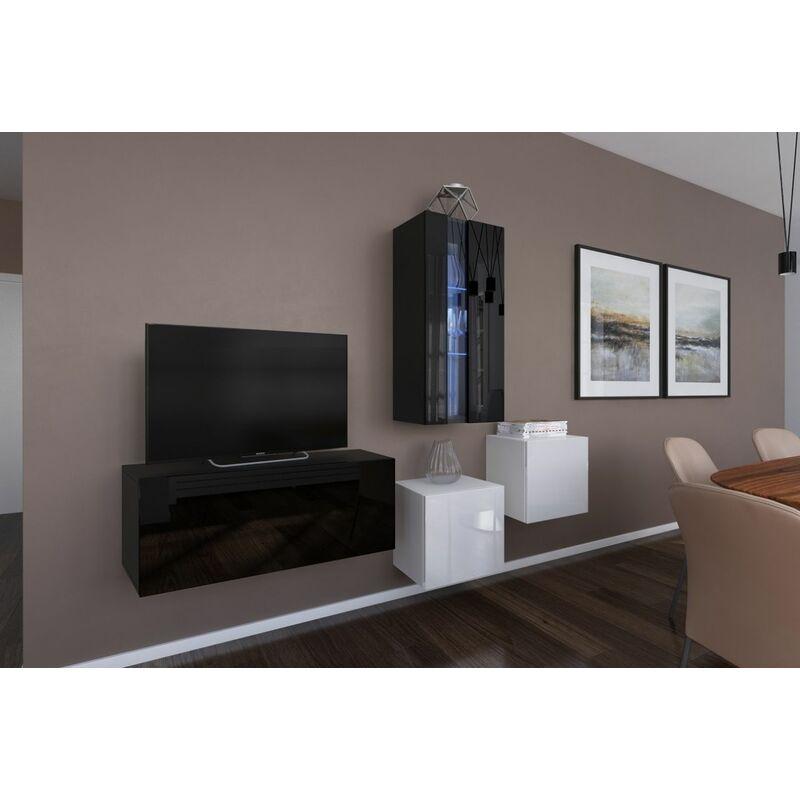 Fun-möbel - Mediawand Wohnwand 4 tlg - NEXI 16 - Schwarz- Weiss Hochglanz inkl.LED