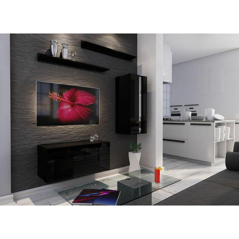 Mediawand Wohnwand 4 tlg - NEXI 34 - Schwarz Hochglanz und inkl.LED - FUN-MÖBEL