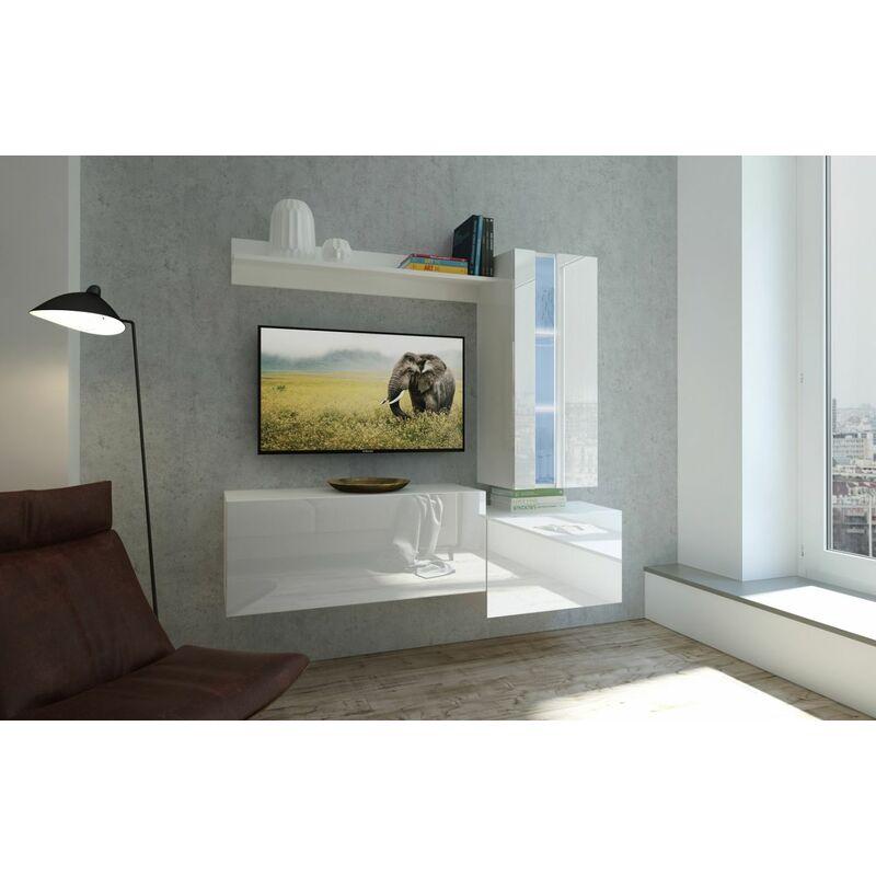 Fun Moebel - Mediawand Wohnwand 4 tlg NEXI XL 24 Weiss Hochglanz inkl.LED