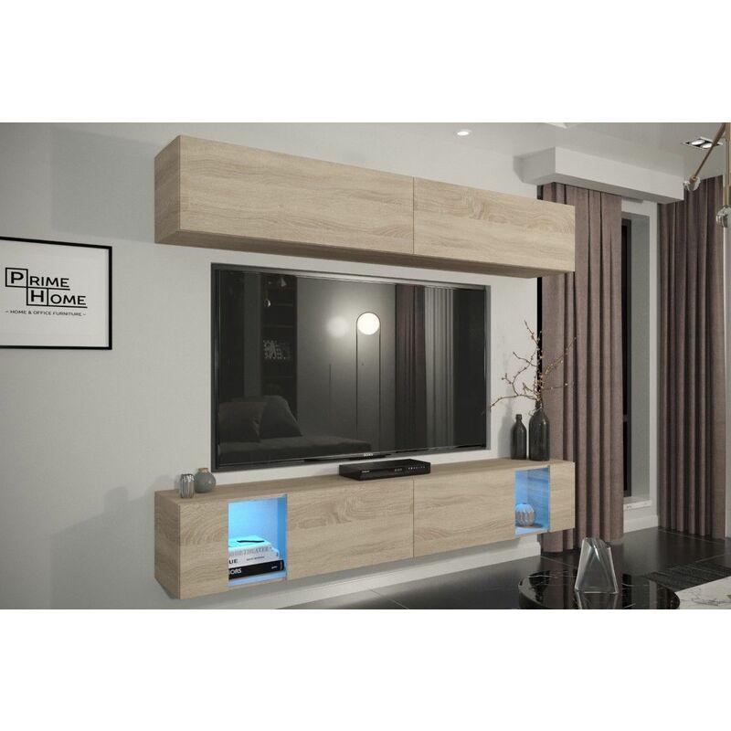 Mediawand Wohnwand 4 tlg - SENOX 15 - Sonoma Eiche inkl.LED - FUN MOEBEL