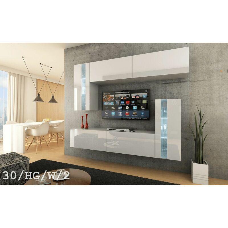 Fun Moebel - Mediawand Wohnwand 6 tlg LAVIA Nr.2 Weiss HGL mit LED-Beleuchtung