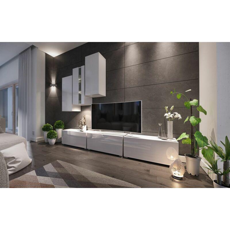 Fun-möbel - Mediawand Wohnwand 6 tlg - NEXI 29 - Weiss Hochglanz inkl.LED