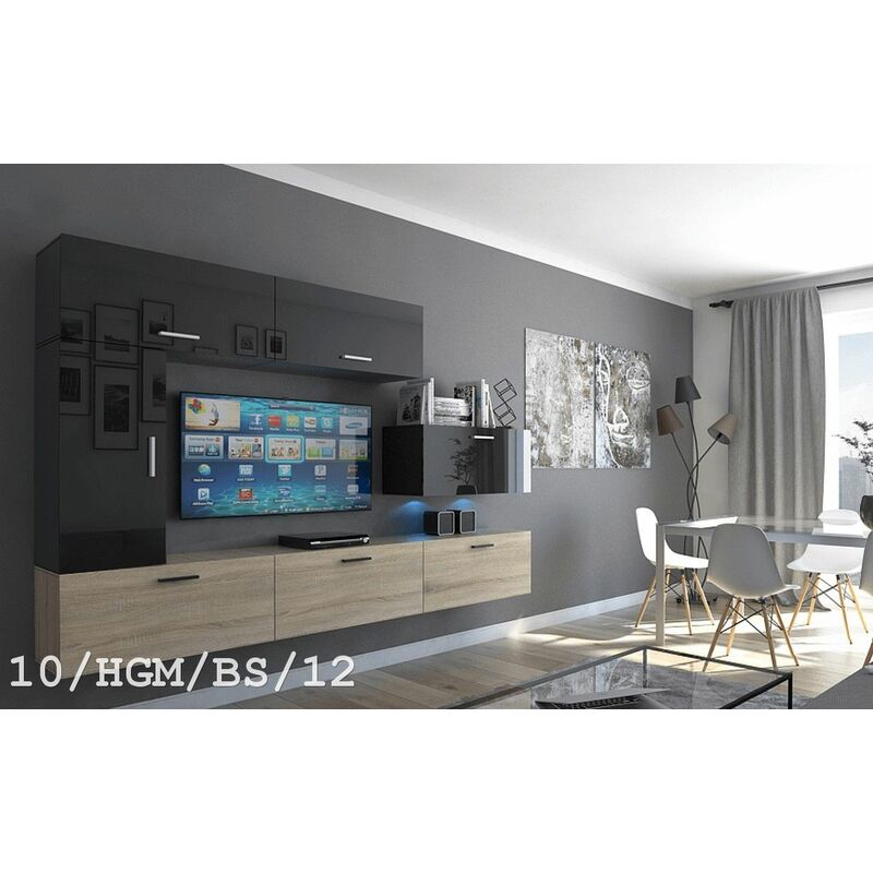 Mediawand Wohnwand 7 tlg - Bedox 3 -Sonoma matt- Schwarz HGL Nr.2 +LED - FUN MOEBEL