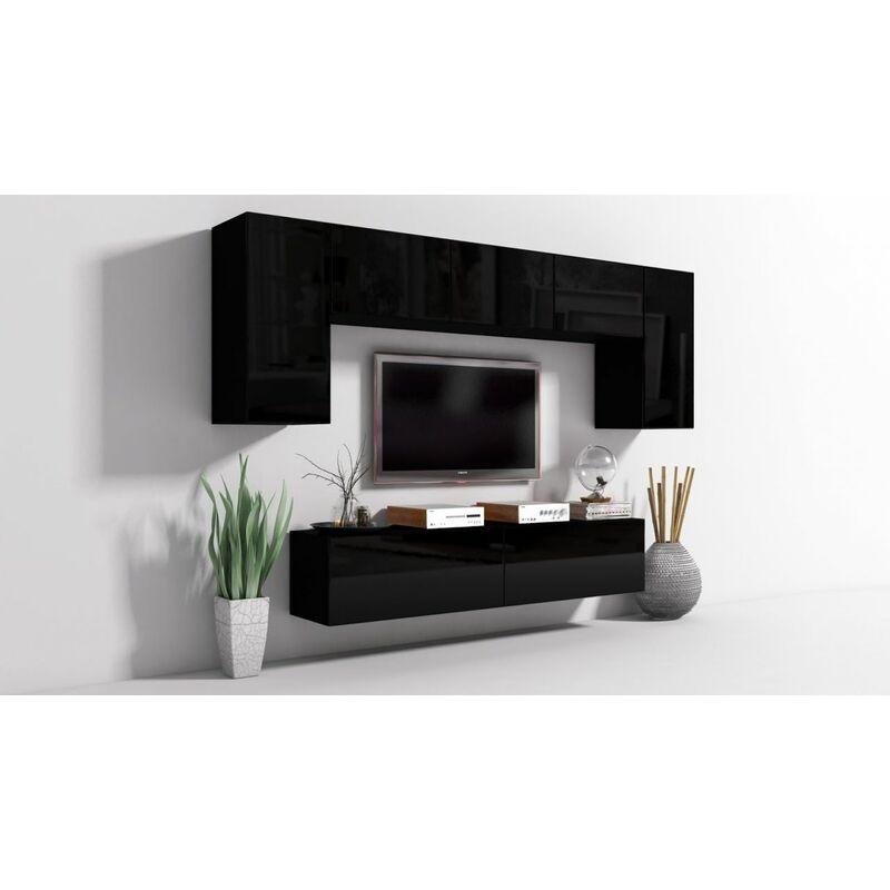 Fun Möbel - Mediawand Wohnwand 7 tlg - Konzept 9 - Schwarz Hochglanz