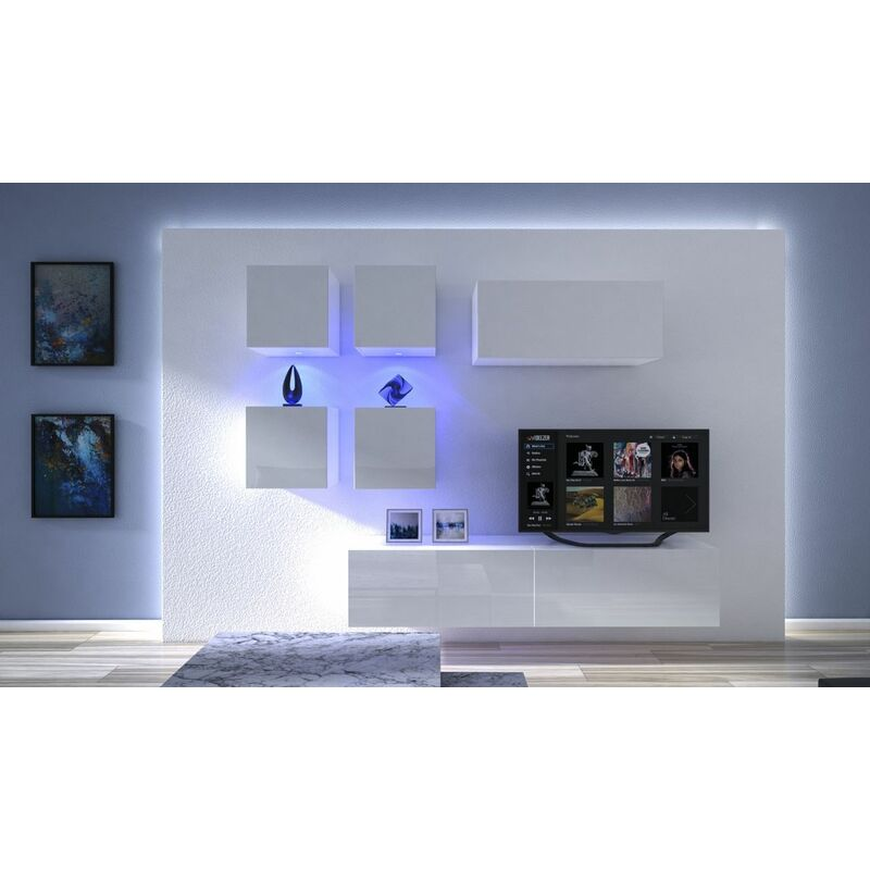 Fun-möbel - Mediawand Wohnwand 7 tlg - NEXI 4 - Weiss Hochglanz inkl.LED