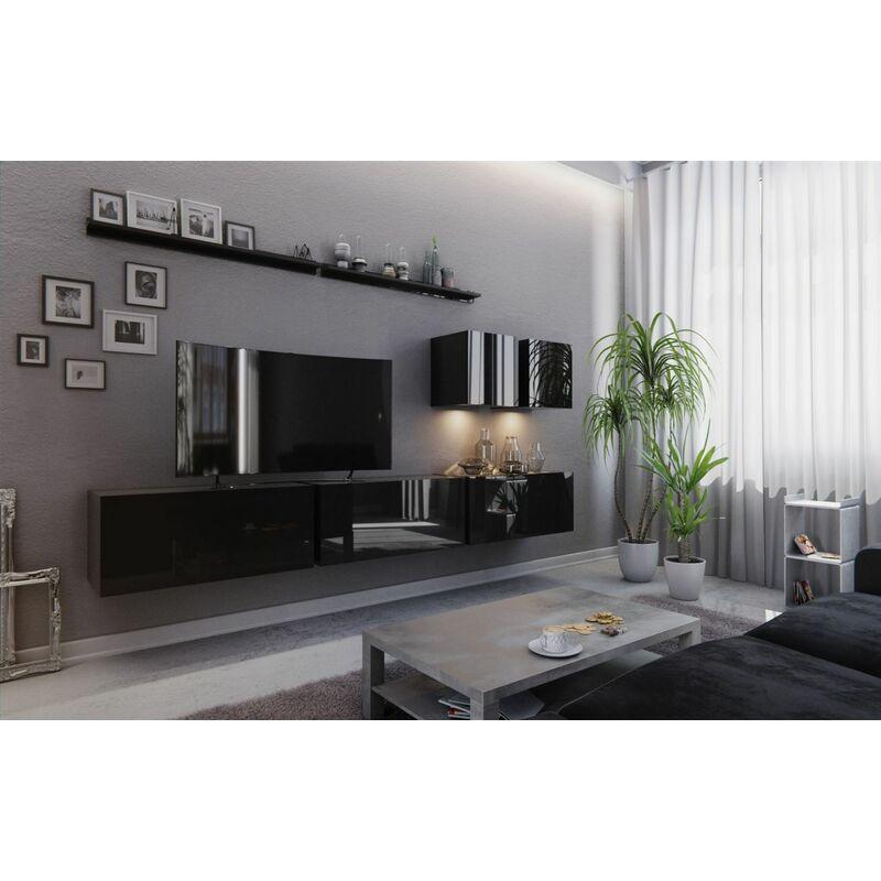 Fun Moebel - Mediawand Wohnwand 7 tlg - NEXI XL 7 - Schwarz Hochglanz und inkl.LED
