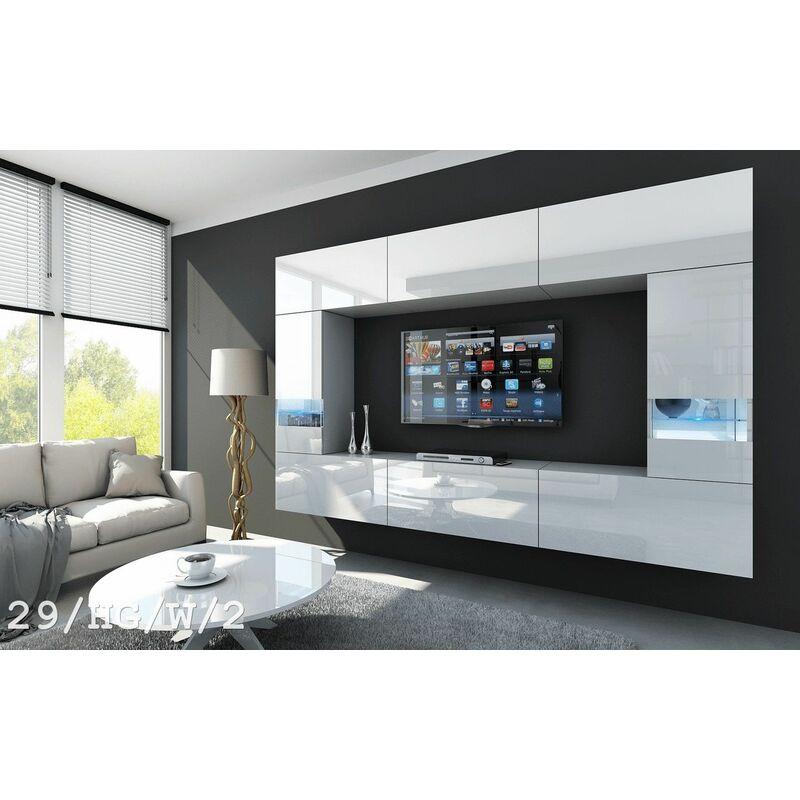 Fun Moebel - Mediawand Wohnwand 8 tlg LAVIA Nr.3 Weiss HGL mit LED-Beleuchtung