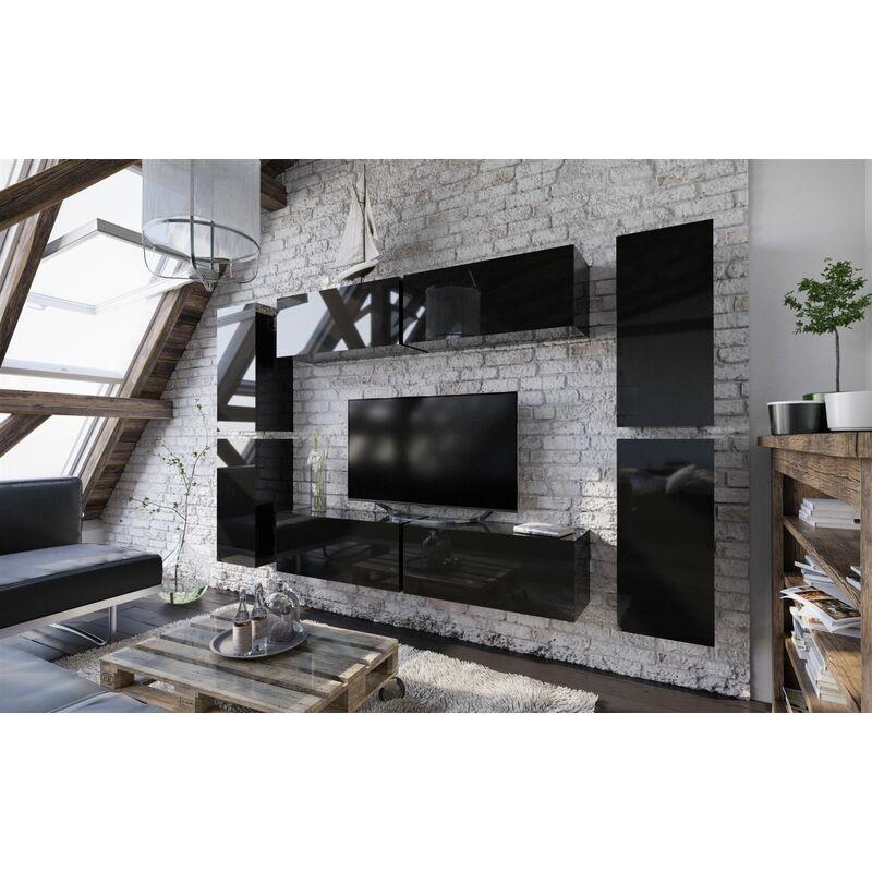 Mediawand Wohnwand 8 tlg - NEXI XL 2 - Schwarz Hochglanz - FUN MOEBEL