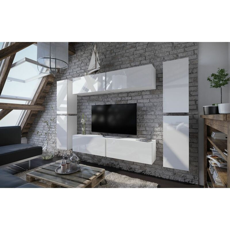 Mediawand Wohnwand 8 tlg - NEXI XL 2 - Weiss Hochglanz - FUN MOEBEL