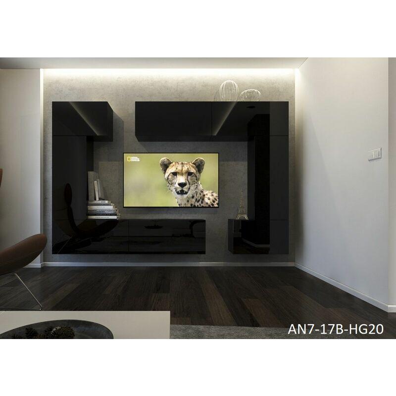 Mediawand Wohnwand 8 tlg NEXI XL 31 Schwarz Hochglanz - FUN MOEBEL