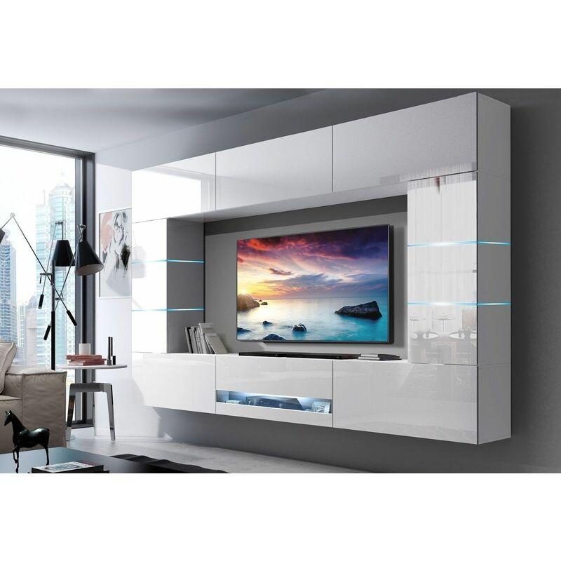 Fun Moebel - Mediawand Wohnwand 8 tlg - SENOX 7 - Weiss Hochglanz inkl.LED