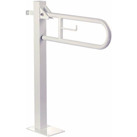 Mediclinics - Barra de apoyo abatible vertical con columna fija Acabado - Acero Inox Brillo